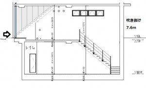ROUEN SHIBUYA B1-1階断面図 ワンプラスワン
